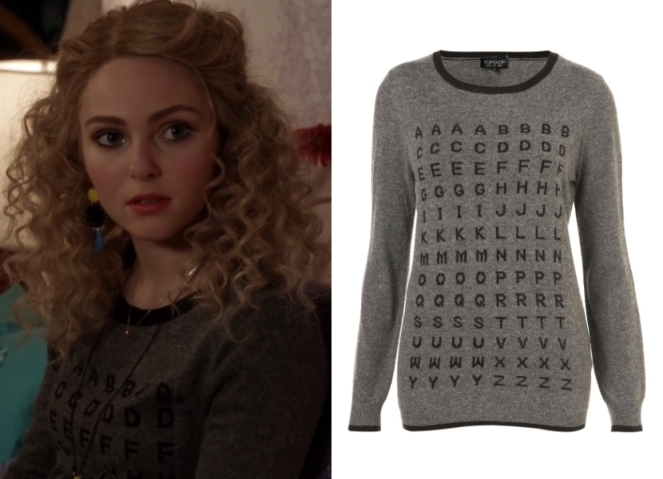 Alphabet Sweater via Fashion of The Carrie Diaries