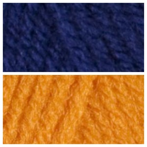 Red Heart Super Saver Yarn in Soft Navy & Pumpkin